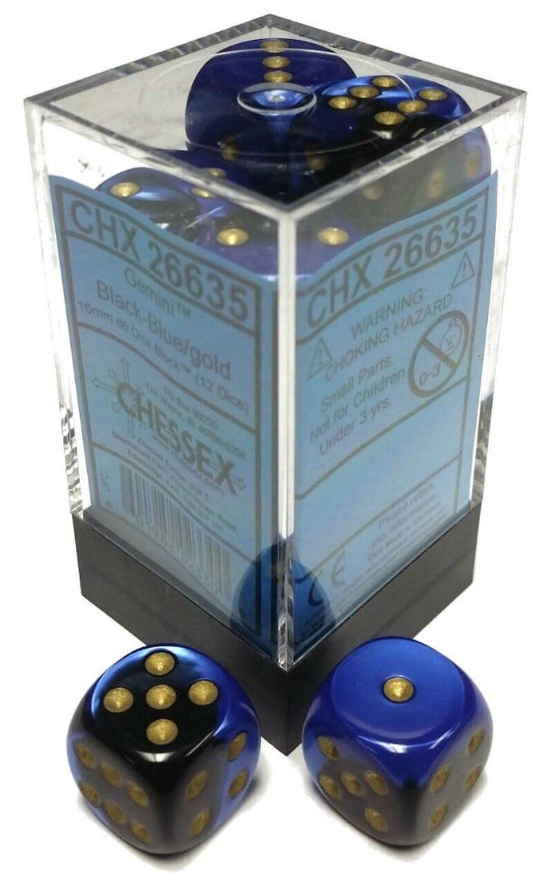 Chessex 16mm d6 Gemini: Black-Blue/Gold