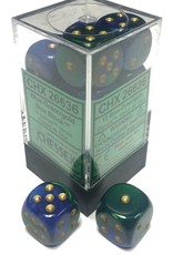 Chessex Chessex Gemini Blue-Green/Gold Set of 12 D6 Dice