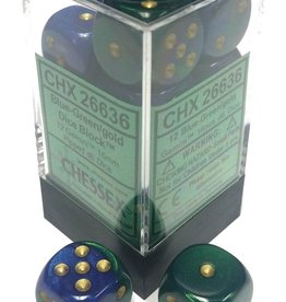Chessex Chessex Gemini Blue-Green/Gold Set of 12 D6 Dice