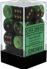 Chessex Chessex Gemini Black-Green/Gold Set of 12 D6 Dice
