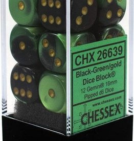 Chessex Chessex Gemini Black-Green/Gold Set of 12 D6 Dice