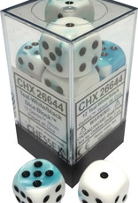 Chessex Chessex Gemini Teal-White/Black Set of 12 D6 Dice