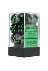 Chessex Chessex Gemini Black-Grey/Green Set of 12 D6 Dice