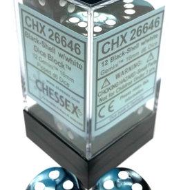 Chessex Chessex Gemini Black-Shell/White Set of 12 D6 Dice