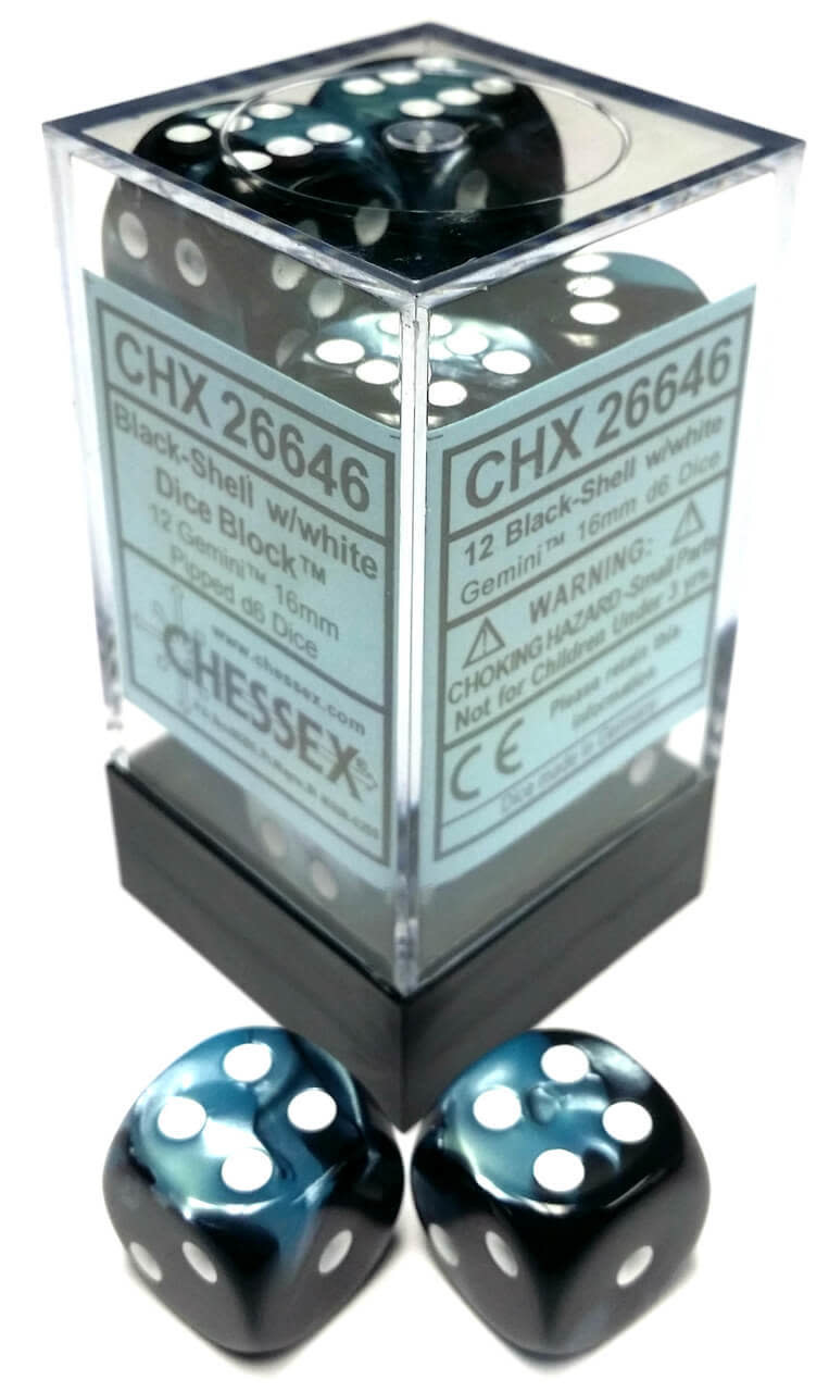 Chessex Chessex Gemini Black-Shell/White Set of 12 D6 Dice
