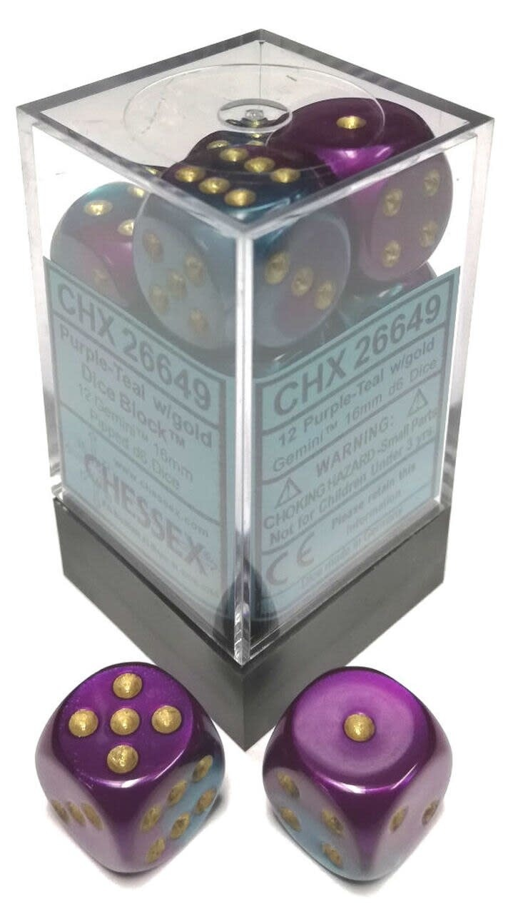 Chessex Chessex Gemini Purple-Teal/Gold Set of 12 D6 Dice