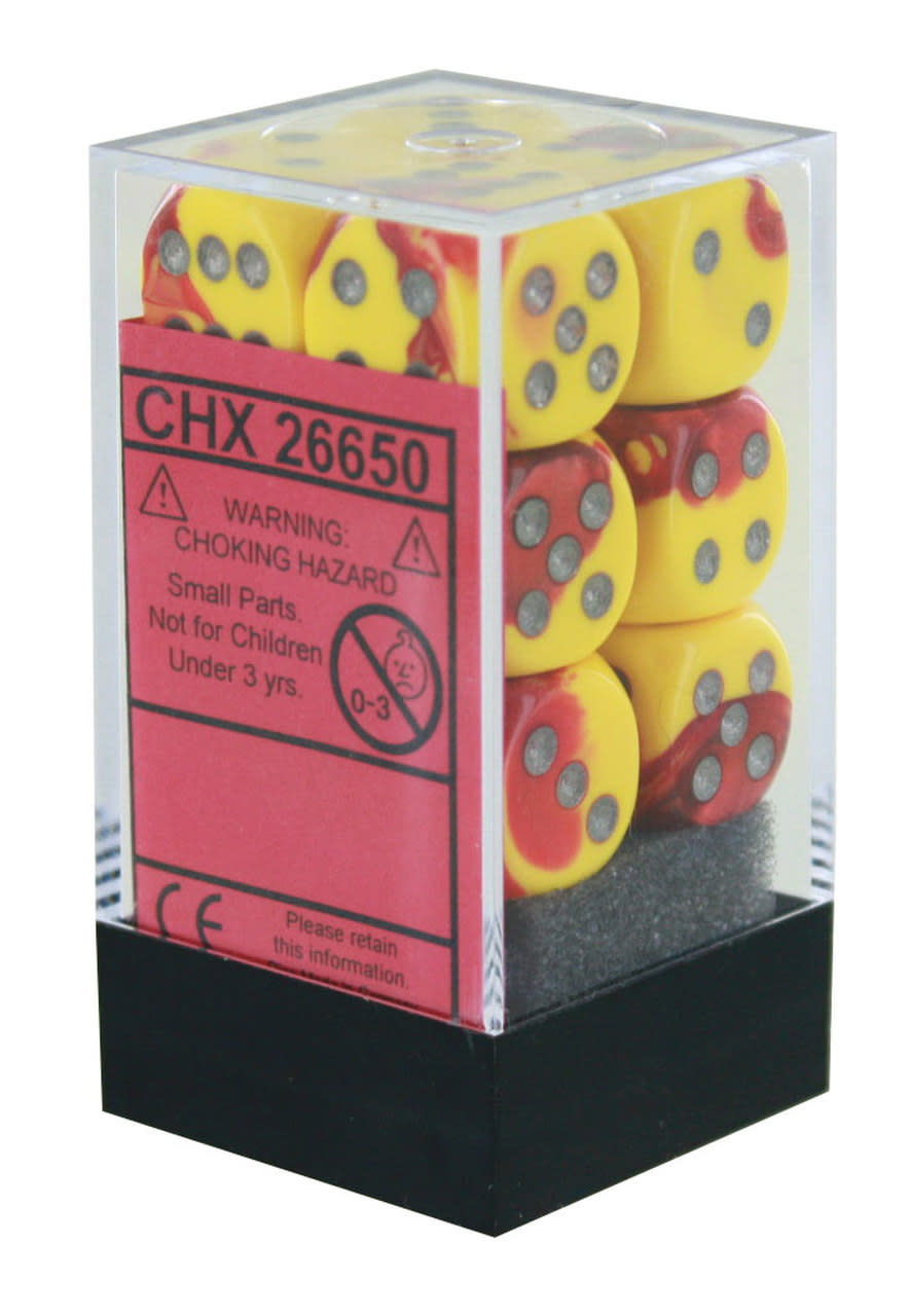 Chessex Chessex Gemini Red-Yellow/White Set of 12 D6 Dice