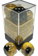 Chessex Chessex Gemini Black-Gold/Silver Set of 12 D6 Dice