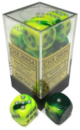 Chessex Chessex Gemini Green-Yellow/Silver Set of 12 D6 Dice