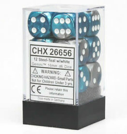 Chessex Chessex Gemini Steel-Teal/White Set of 12 D6 Dice