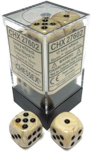 Chessex Chessex Marble Ivory/Black Set of 12 D6 Dice
