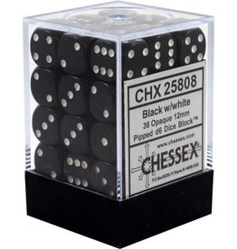Chessex Chessex Opaque Black/White Set of 36 D6 Dice
