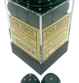 Chessex Chessex Opaque Dusty Green/Cppr Set of 36 D6 Dice