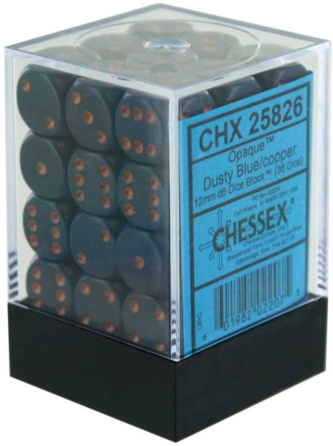 Chessex Chessex Opaque Dusty Blue/Cppr Set of 36 D6 Dice