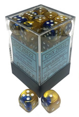 Chessex Chessex Gemini Blue-Gold/White Set of 36 D6 Dice