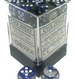 Chessex Chessex Gemini Blue-Steel/White Set of 36 D6 Dice