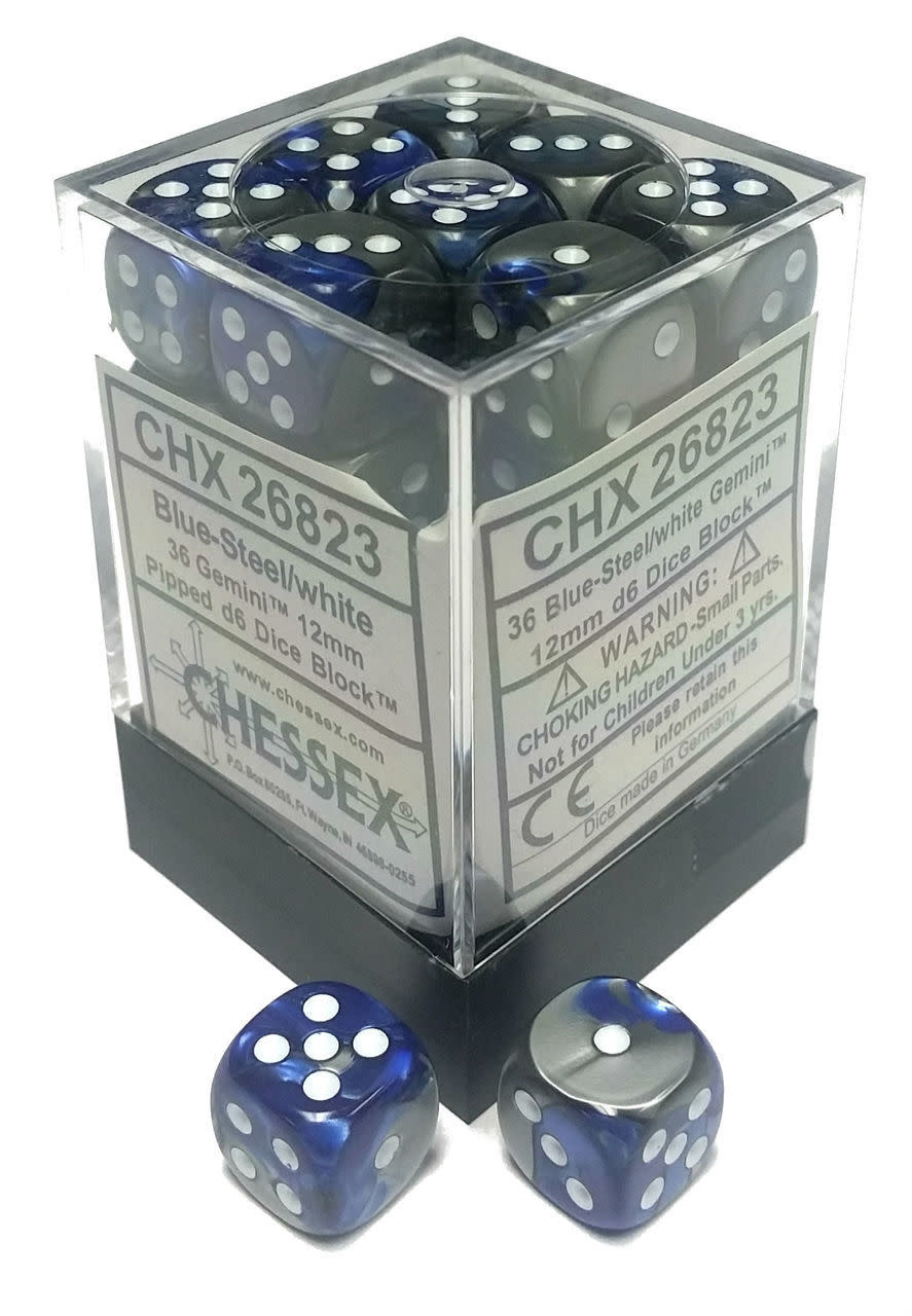 Chessex Chessex Gemini Blue-Steel/White Set of 36 D6 Dice