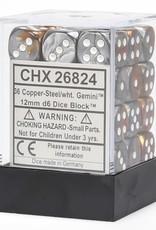 Chessex Chessex Gemini Copper-Steel/White Set of 36 D6 Dice