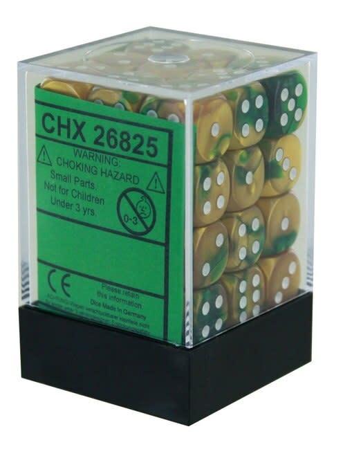 Chessex Chessex Gemini Gold-Green/White Set of 36 D6 Dice