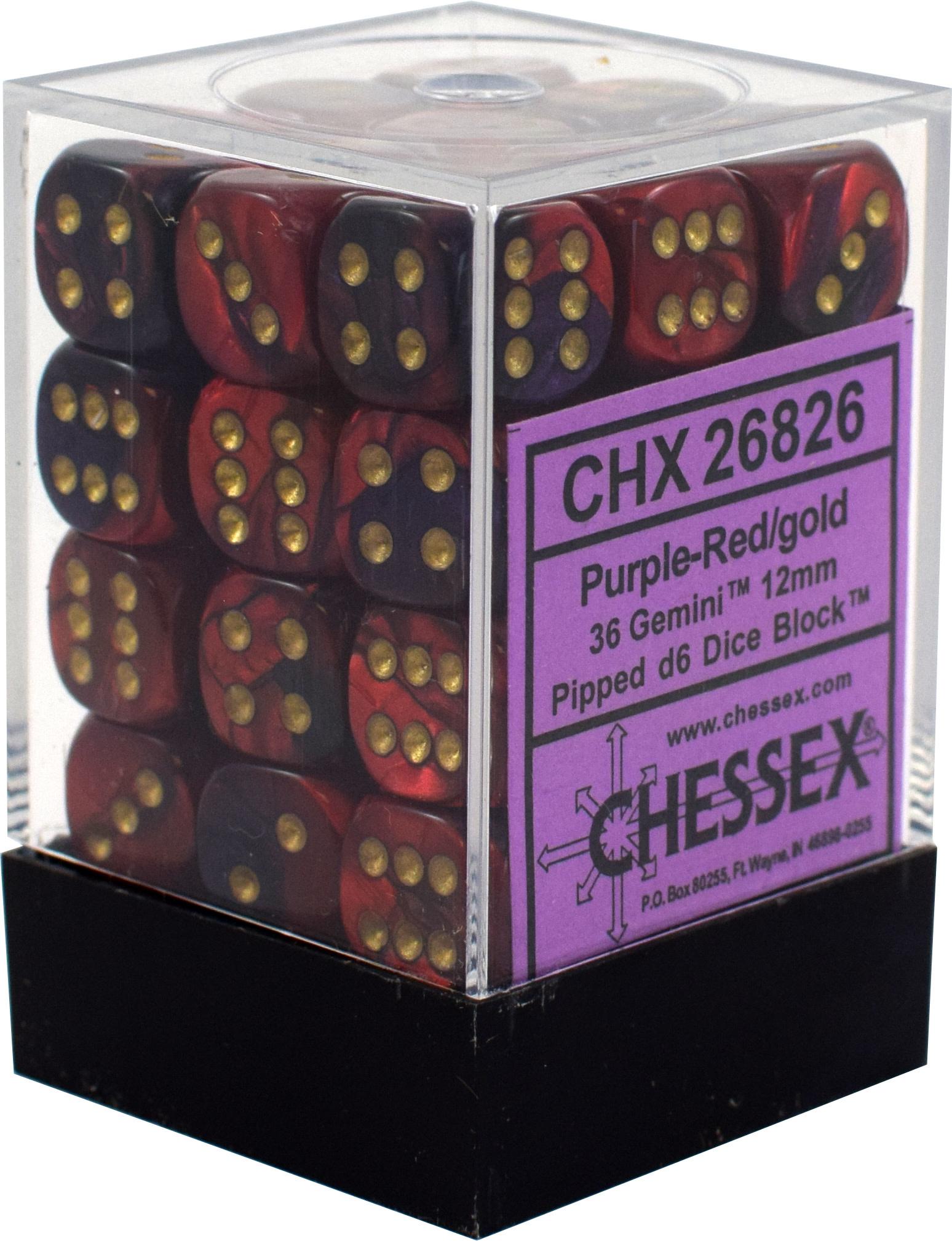 Chessex Chessex Gemini Purple-Red/Silver Set of 36 D6 Dice