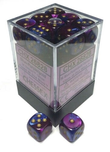 Chessex Chessex Gemini Blue-Purple/Gold Set of 36 D6 Dice