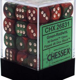 Chessex Chessex Gemini Green-Red/White Set of 36 D6 Dice