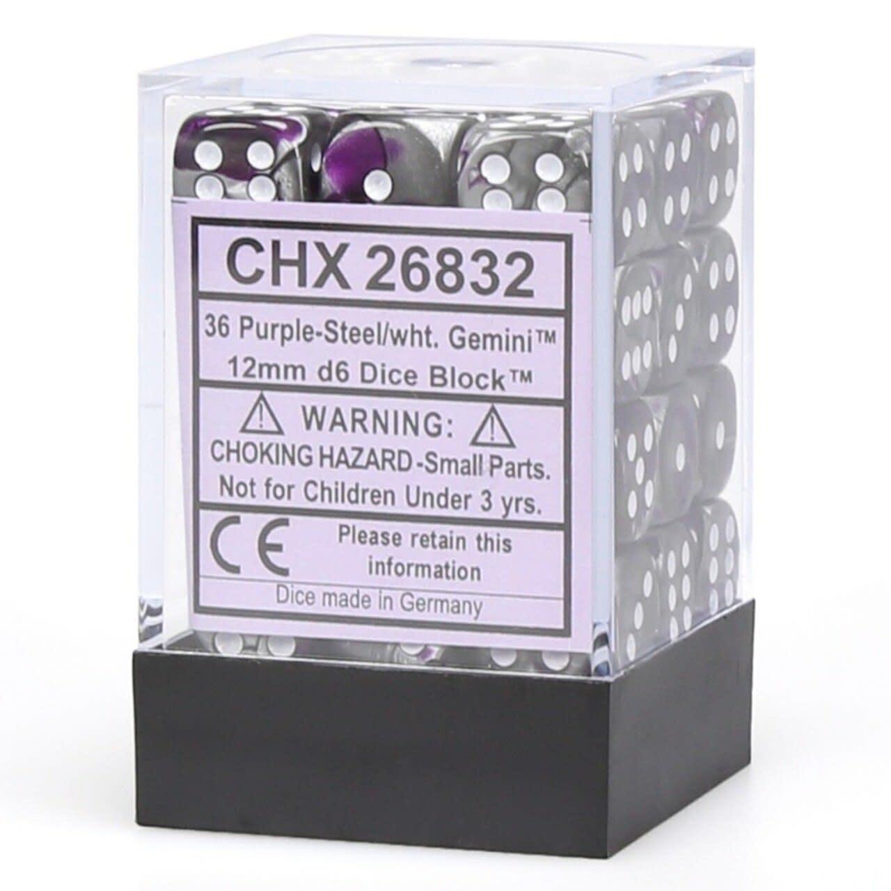 Chessex Chessex Gemini Purple-Steel/White Set of 36 D6 Dice