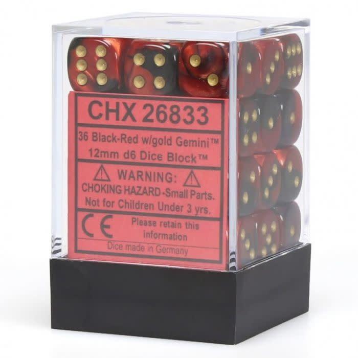 Chessex Chessex Gemini Black-Red/Gold Set of 36 D6 Dice