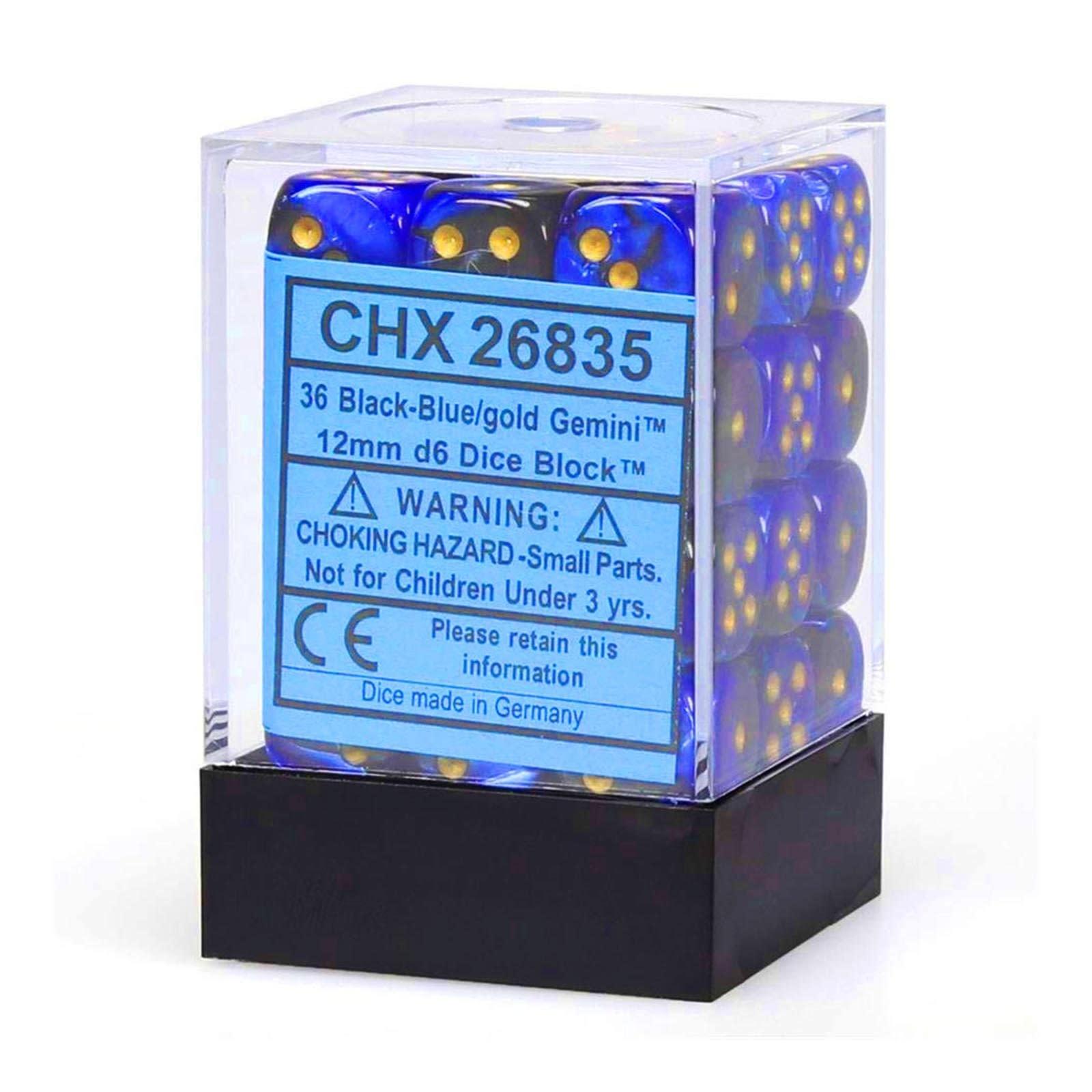 Chessex Chessex Gemini Black-Blue/Gold Set of 36 D6 Dice