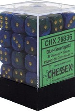 Chessex Chessex Gemini Blue-Green/Gold Set of 36 D6 Dice