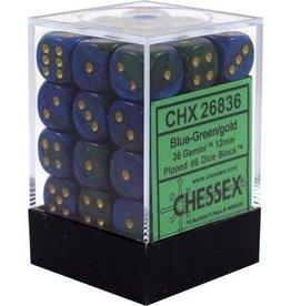 Chessex Chessex Gemini Blue-Green/Gold Set of 36 D6 Dice
