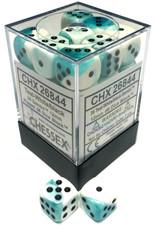 Chessex Chessex Gemini Teal-White/Black Set of 36 D6 Dice