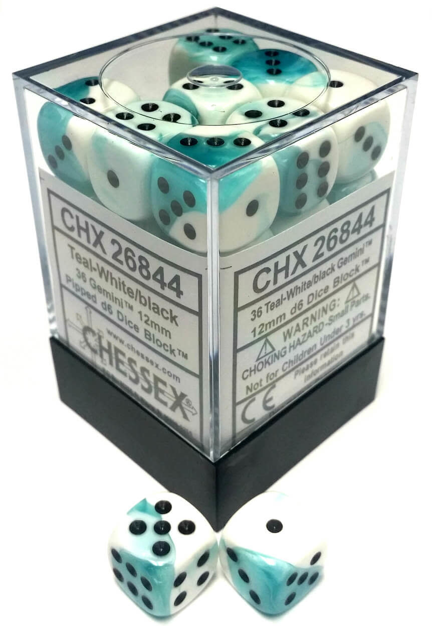 Chessex Chessex Gemini Teal-White/Black Set of 36 D6 Dice