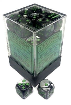 Chessex Chessex Gemini Black-Grey/Green Set of 36 D6 Dice