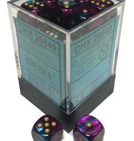 Chessex Chessex Gemini Purple-Teal/Gold Set of 36 D6 Dice