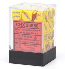 Chessex Chessex Gemini Red-Yellow/Silver Set of 36 D6 Dice