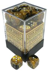 Chessex Chessex Gemini Black-Gold/Silver Set of 36 D6 Dice