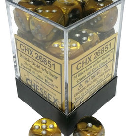 Chessex Chessex Gemini Black-Gold/Silver Set of 36 D6 Dice