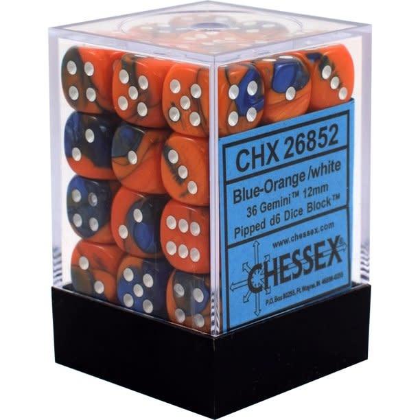 Chessex Chessex Gemini Blue-Orange/White Set of 36 D6 Dice