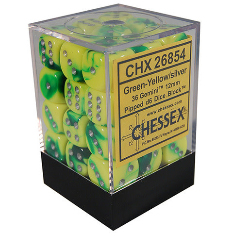 Chessex Chessex Gemini Green-Yellow/Silver Set of 36 D6 Dice