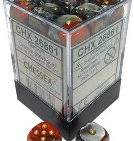 Chessex Chessex Gemini Orange-Steel/Gold Set of 36 D6 Dice