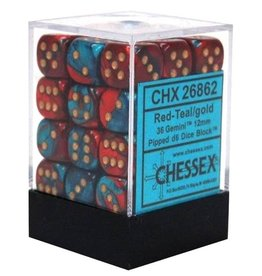 Chessex Chessex Gemini Red-Teal/Gold Set of 36 D6 Dice