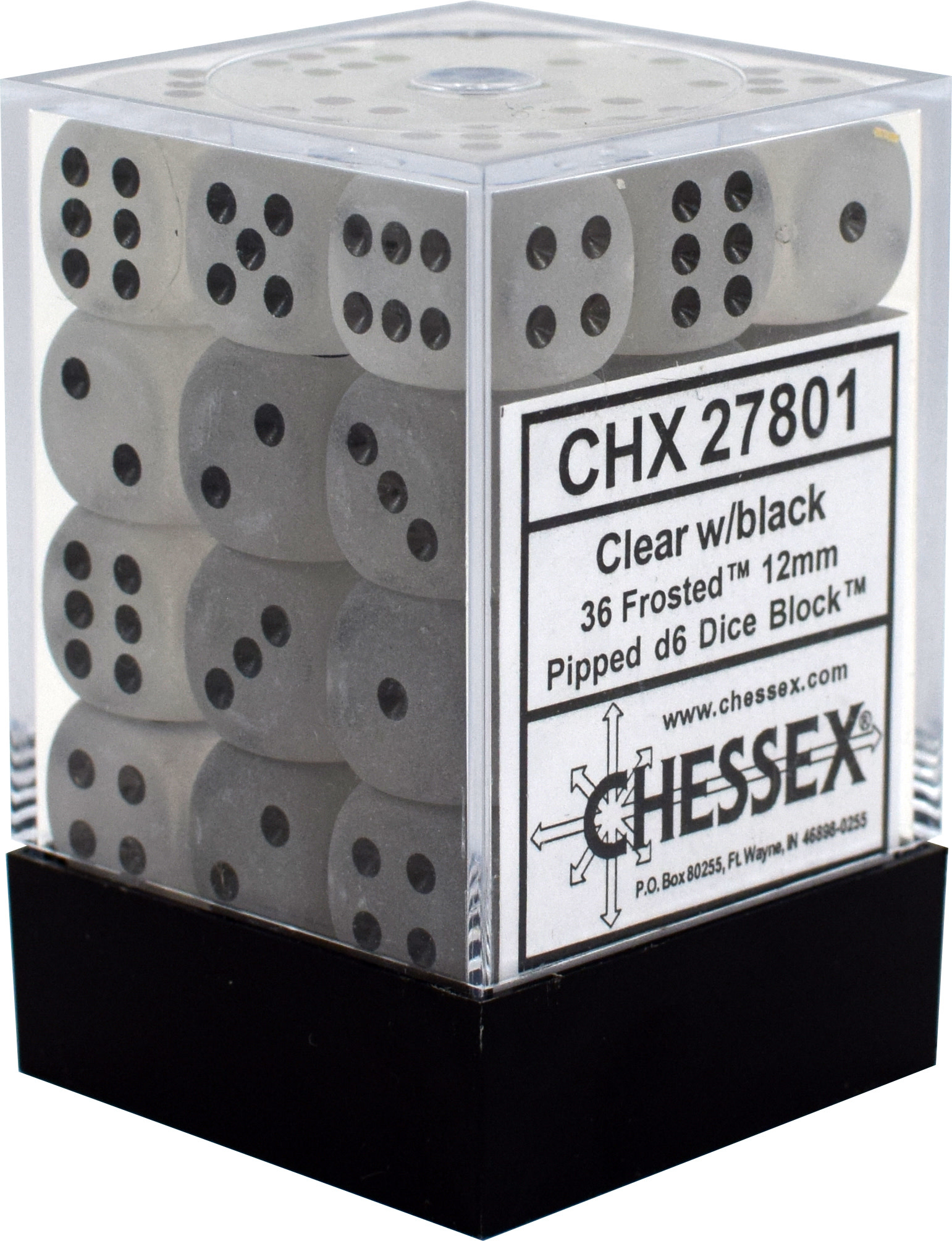 Chessex Chessex Frost Clear/Black Set of 36 D6 Dice