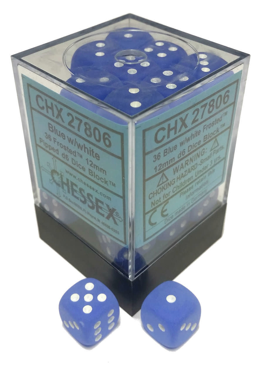 Chessex Chessex Frost Blue/White Set of 36 D6 Dice