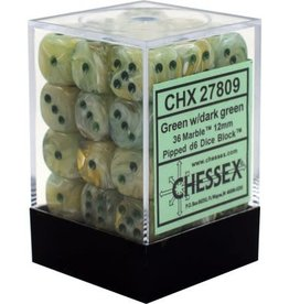 Chessex Chessex Marble Green/Dk Green Set of 36 D6 Dice