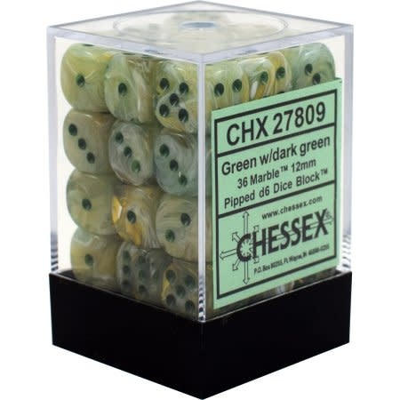 Chessex Marble Green Dk Green Set Of 36 D6 Dice Frontlinegamingus
