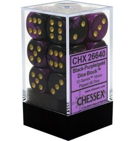 Chessex Chessex Gemini Black-Purple/Gold Set of 12 D6 Dice