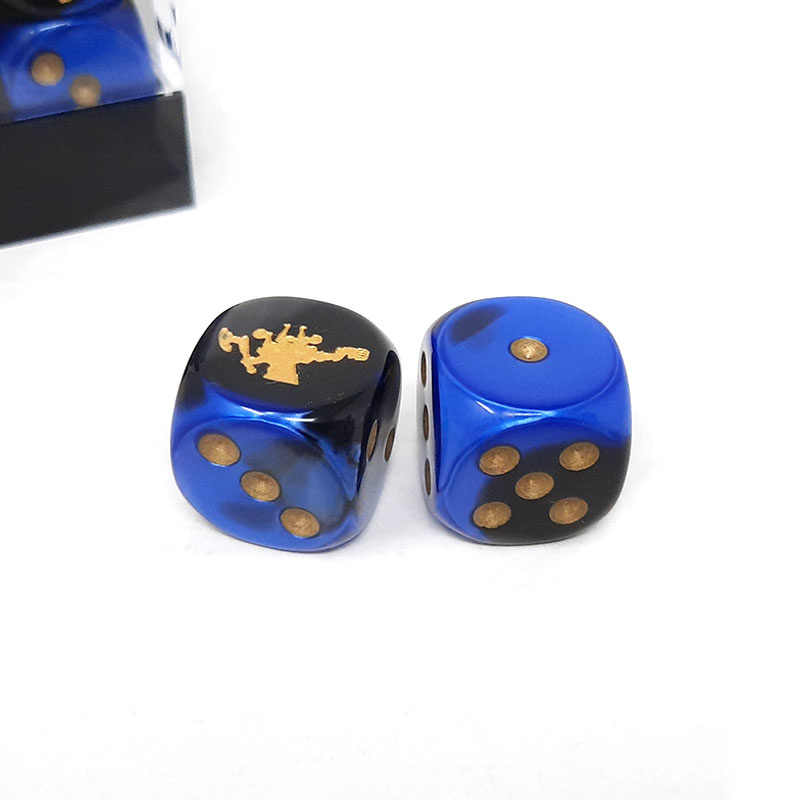 Frontline Gaming FLG Dice 12 Pack: Blue Black and Gold