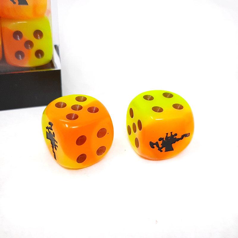 Frontline Gaming FLG Dice 12 Pack: Orange Yellow and Black