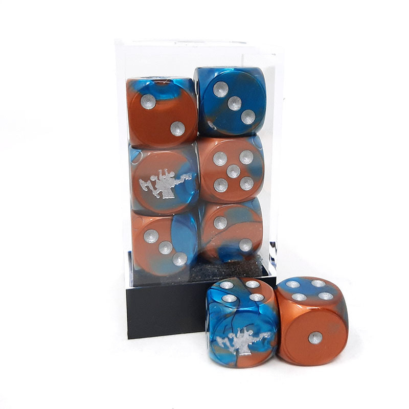 Frontline Gaming FLG Dice 12 Pack: Copper Teal and Silver